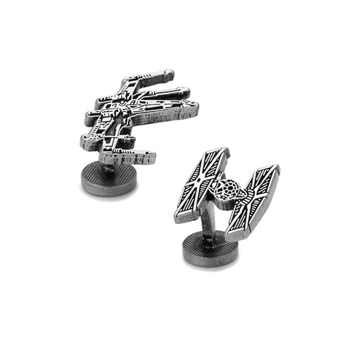 Star War - W Wing & Tie Fighter Black Cufflinks
