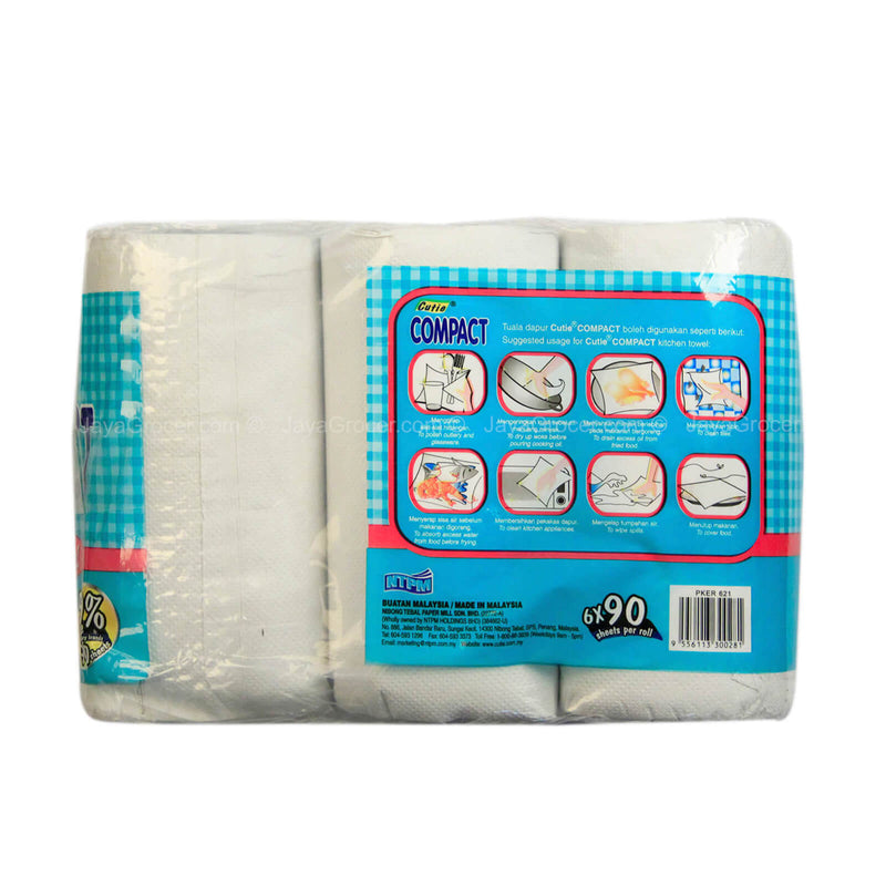 Cutie Compact Kitchen Towel 90sheets x 6