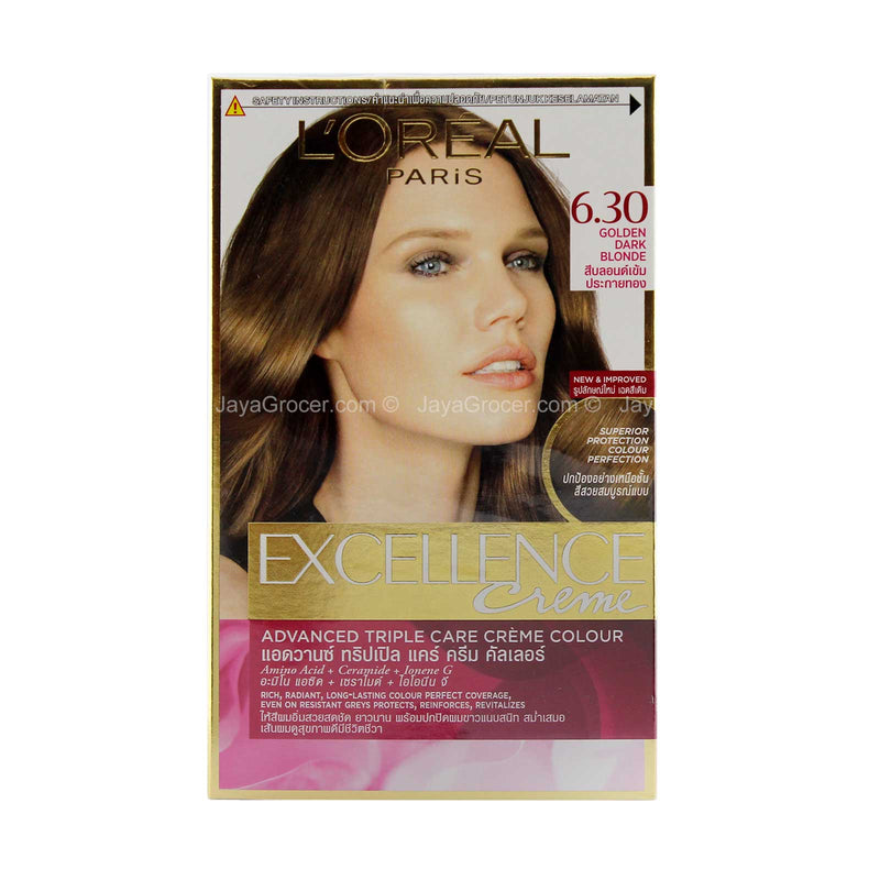 L'Oreal Paris Excellence Creme Hair Colour 6.30 Golden Dark Blonde 1unit