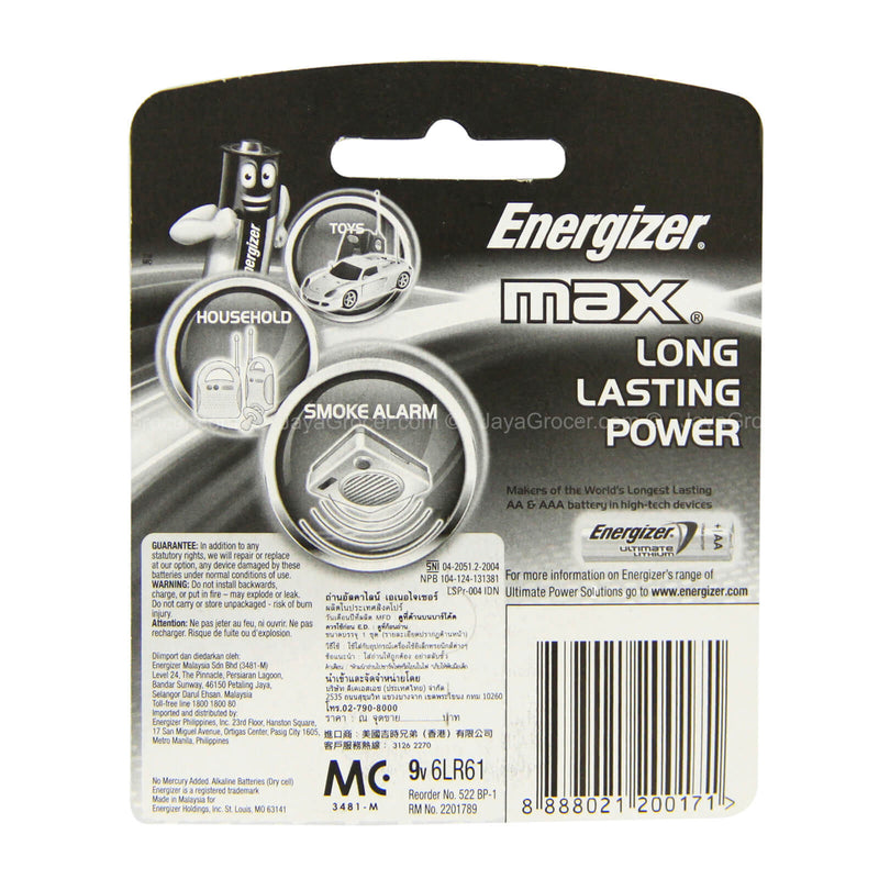 Energizer Max 9V Alkaline Battery 1Pack