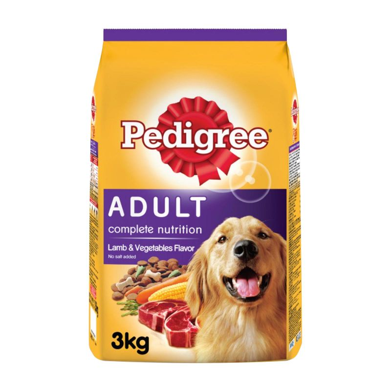 Pedigree Adult Dog Lamb and Vegetables Flavored Dog Food 3kg