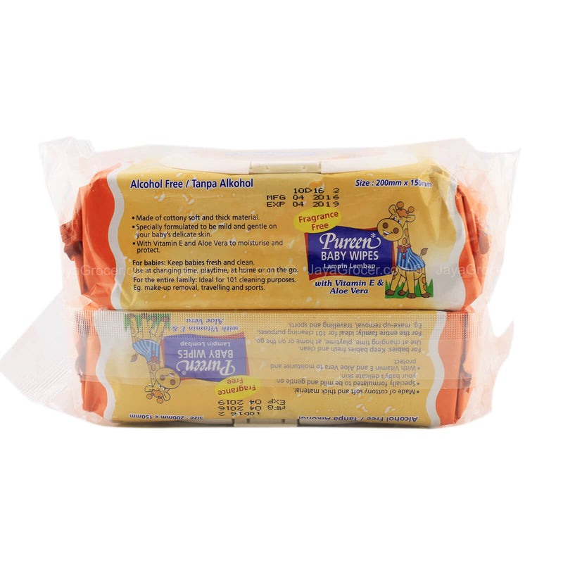Pureen Baby Wipes (Orange) Value Pack 100sheets x 2packs