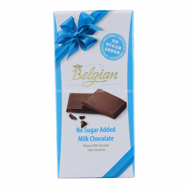 Belgian No Sugar Added Milk Chocolate 100g