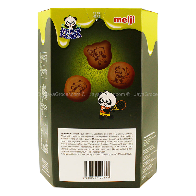Meiji Hello Panda Cocoa Biscuits with Matcha Green Tea Cream Filling 260g