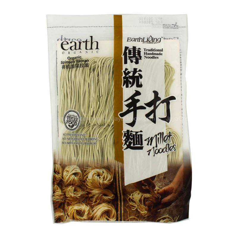 Earth Organic Organic Spinach Raman Traditional Handmade Millet Noodles 250g