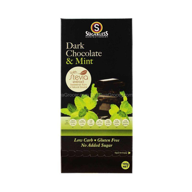 Sugarless Confectionery Dark Chocolate & Mint 100g