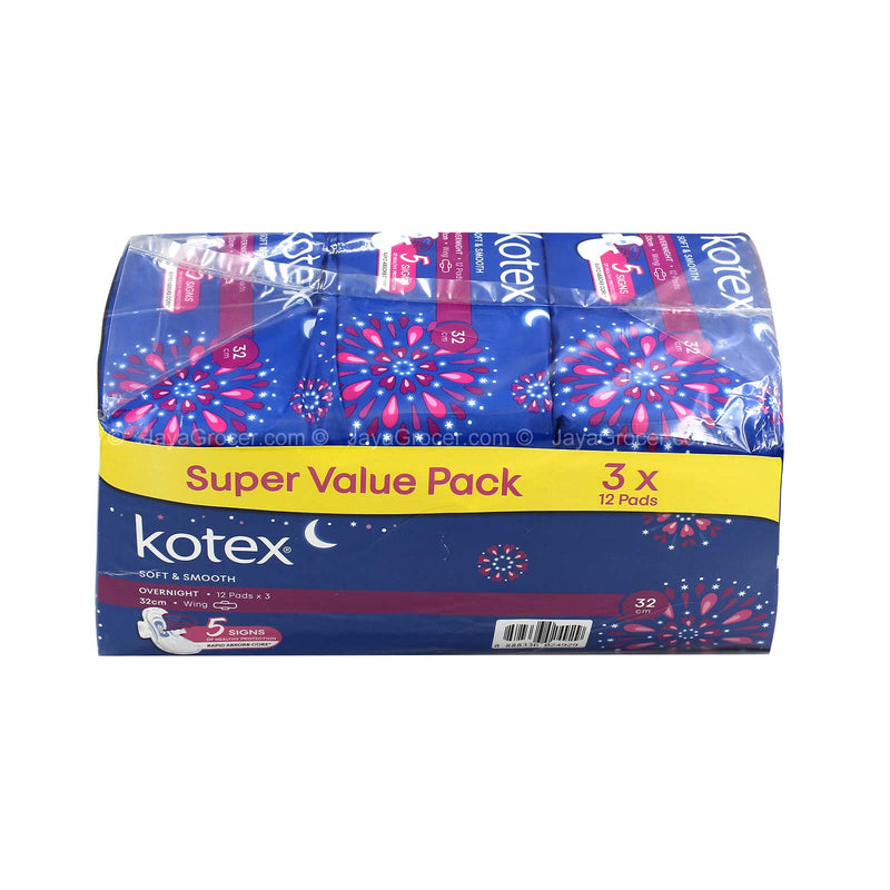 Kotex Soft and Smooth Overnight Wing Pad 12pcs x 3pacs