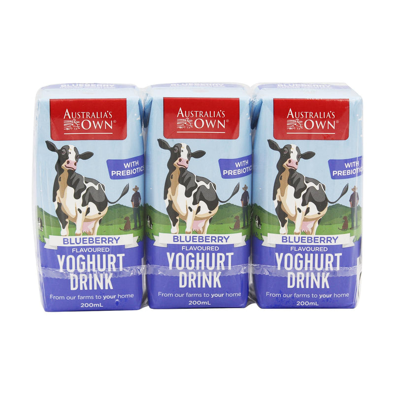 Australia's Own Blueberry Flavoured Yoghurt Drink 200ml x 3