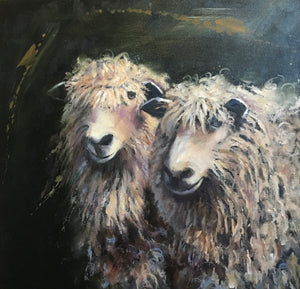 Sheep Oil Painting by Patricia Cotterill on view at Riverside Studios in the River Arts District in Asheville, NC.