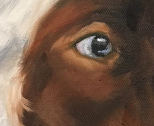 Close up detail of the brushwork used to create the cow's eye.