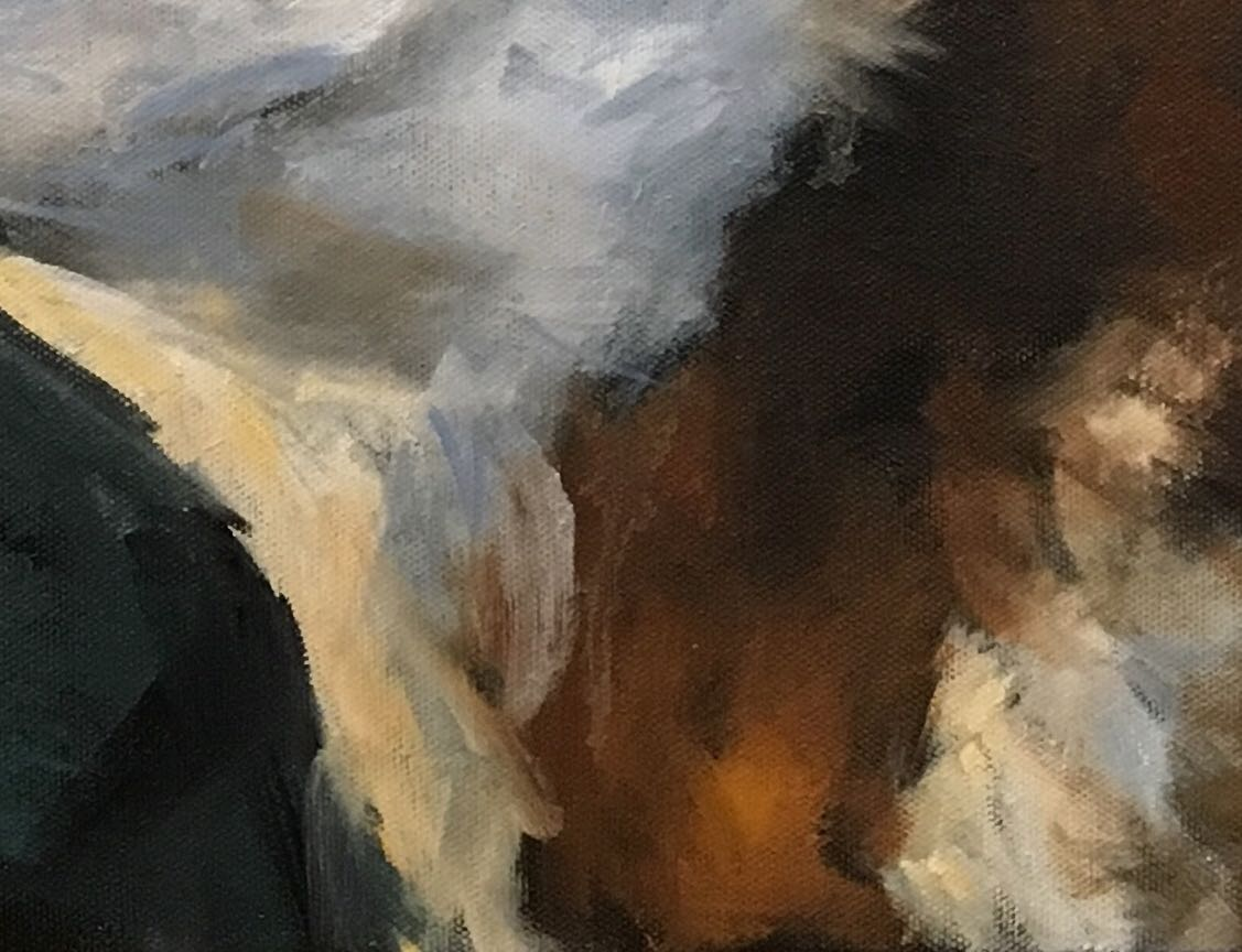 Close up of the brushwork used by the artist to create a sense of movement to the cow's fur.