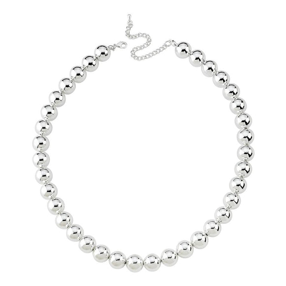 GZ Beads Necklace - Silver 12 mm