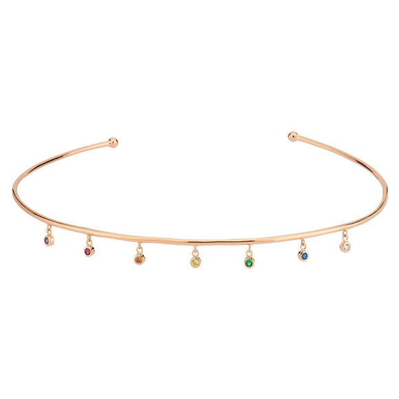 Rainbow Choker 925 - Rose Gold