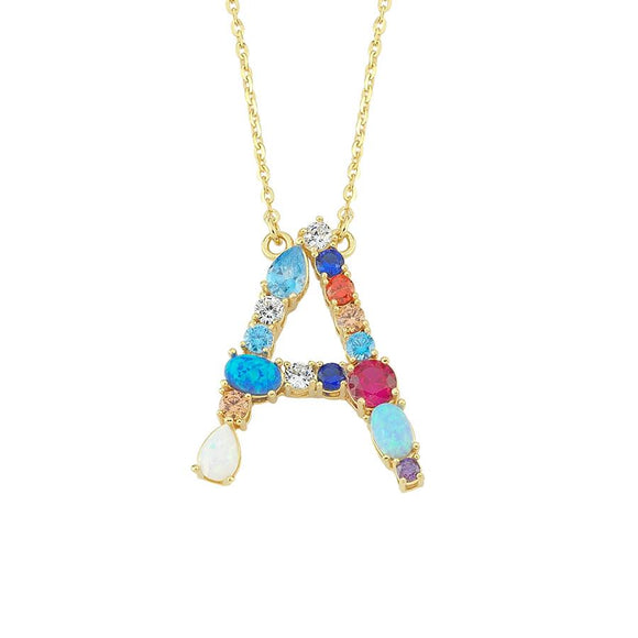 Opal Initial A Necklace 925