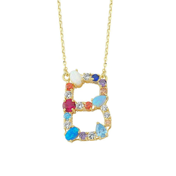 Opal Initial B Necklace 925