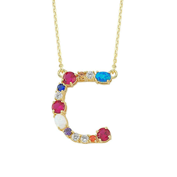 Opal Initial C Necklace 925