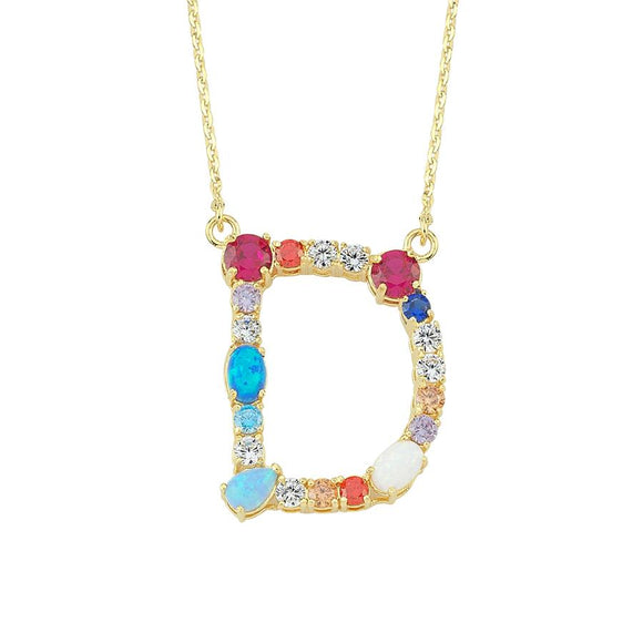 Opal Initial D Necklace 925