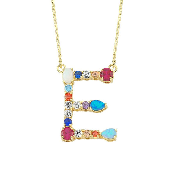 Opal Initial E Necklace 925