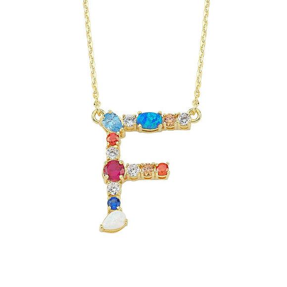 Opal Initial F Necklace 925