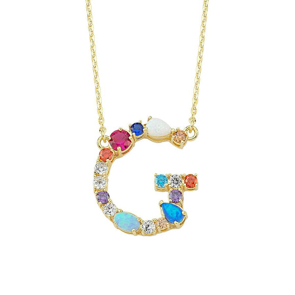 Opal Initial G Necklace 925