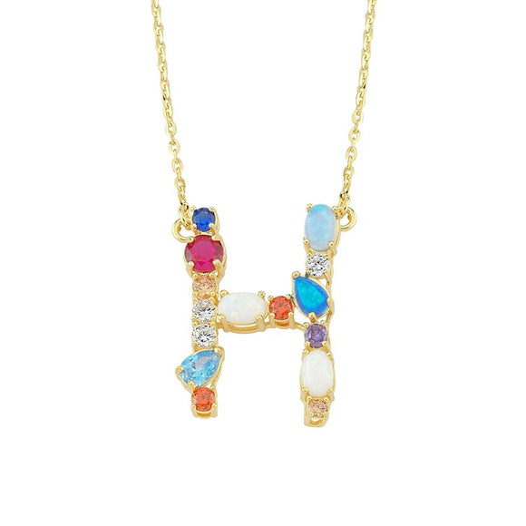 Opal Initial H Necklace 925