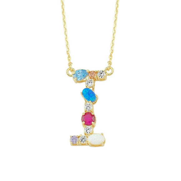 Opal Initial I Necklace 925