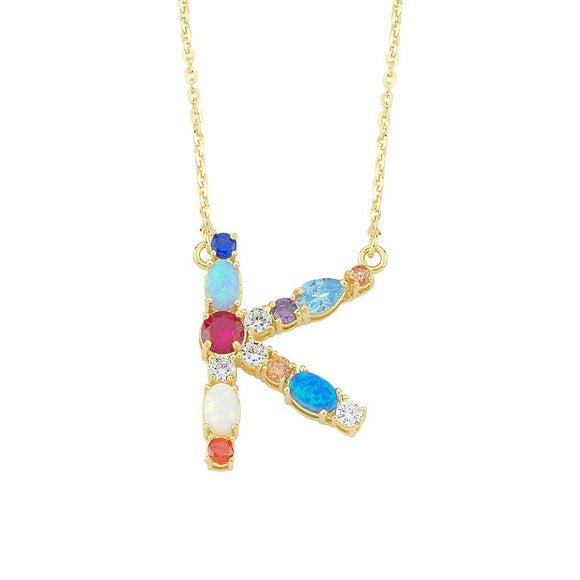Opal Initial K Necklace 925