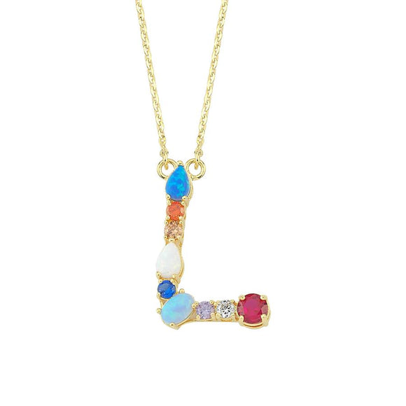 Opal Initial L Necklace 925