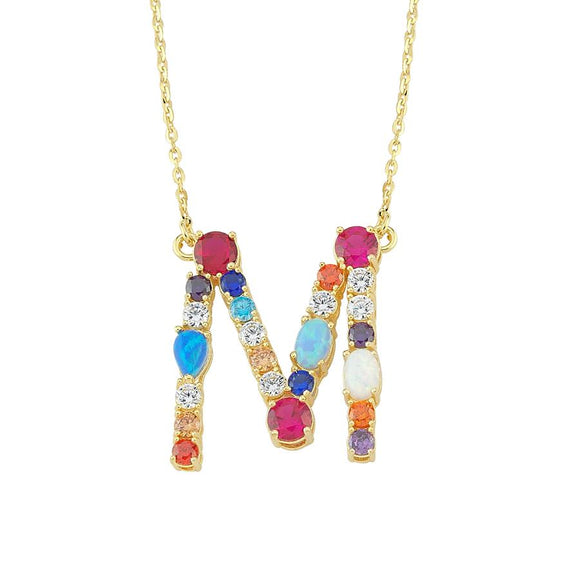 Opal Initial M Necklace 925