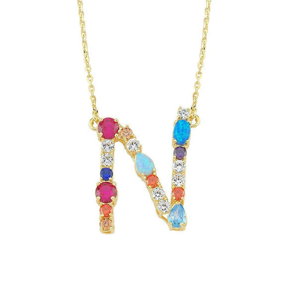 Opal Initial N Necklace 925