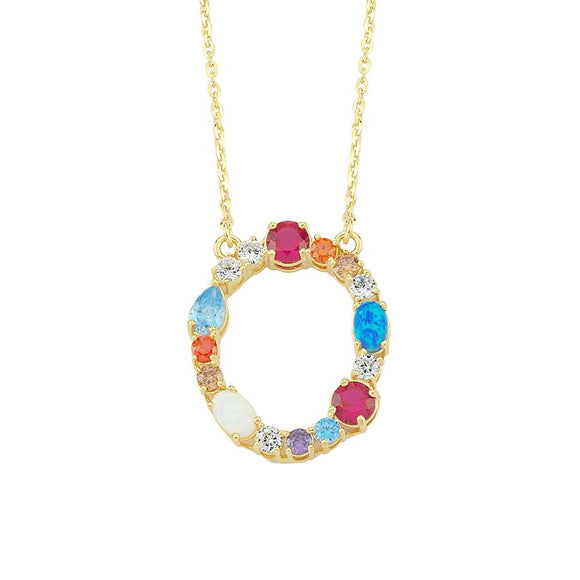 Opal Initial O Necklace 925
