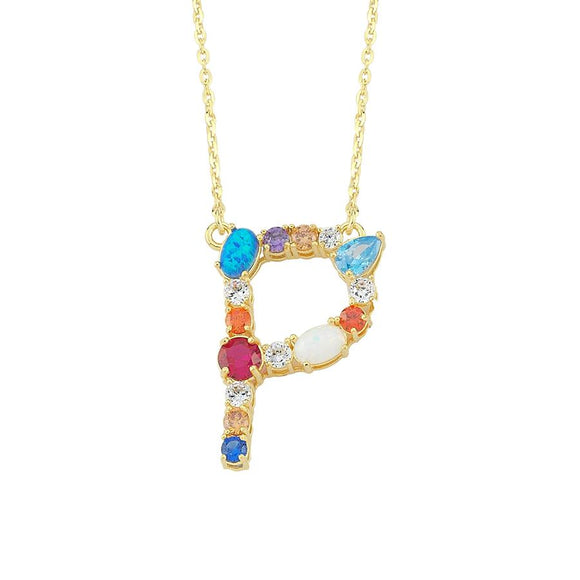 Opal Initial P Necklace 925
