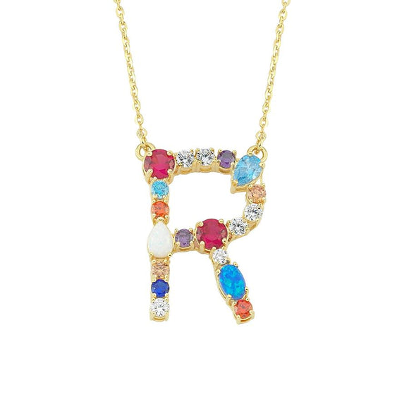 Opal Initial R Necklace 925