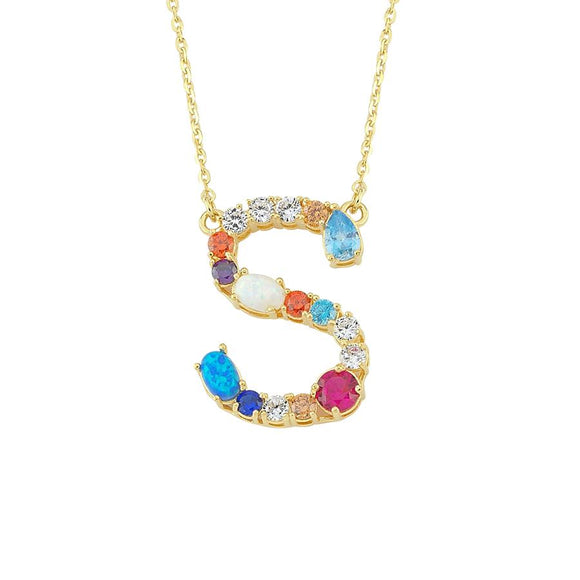 Opal Initial S Necklace 925