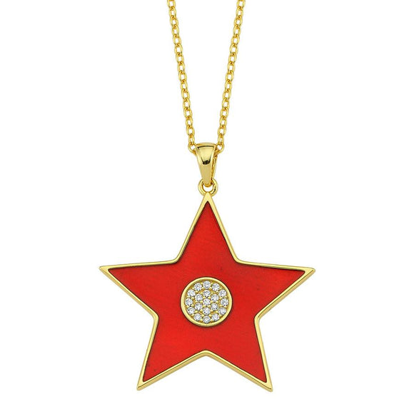 Amazing Star Necklace - Red - 925