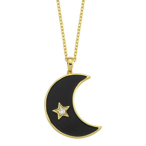Amazing Moon Necklace - Black- 925