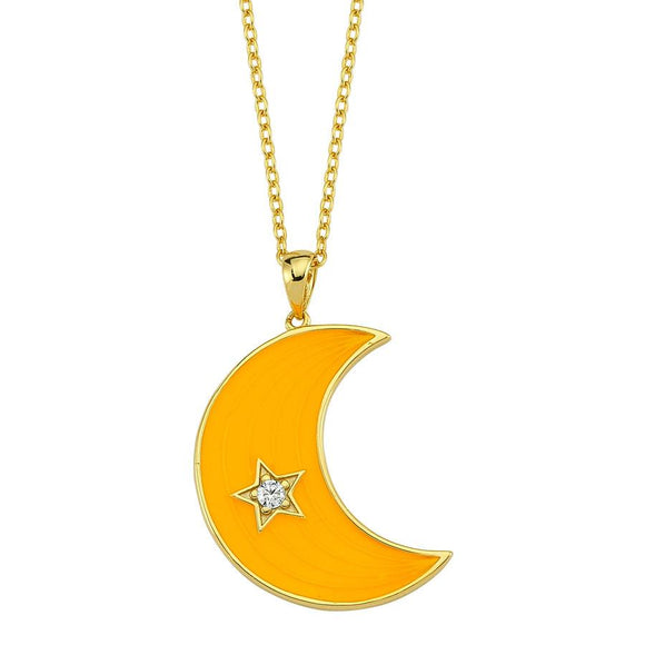 Amazing Moon Necklace - Yellow -925