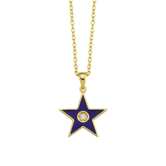 Amazing Star Necklace - Blue - 925
