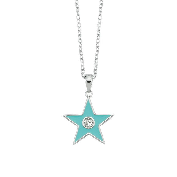 Amazing Star Necklace - Light Blue - 925