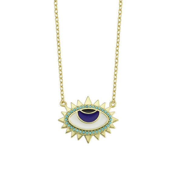 Amazing Nazar Necklace - Green - 925