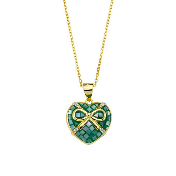 Heart Necklace - Green - 925