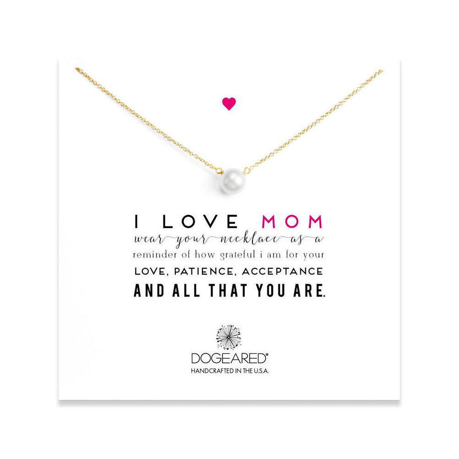 I love mom, large white pearl necklace