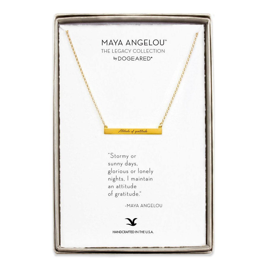maya angelou attitude of gratitude ID bar gold necklace