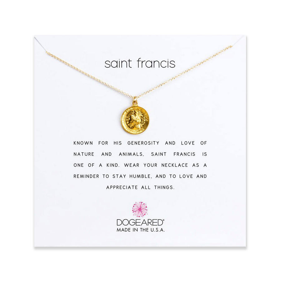 saint francis necklace, gold dipped