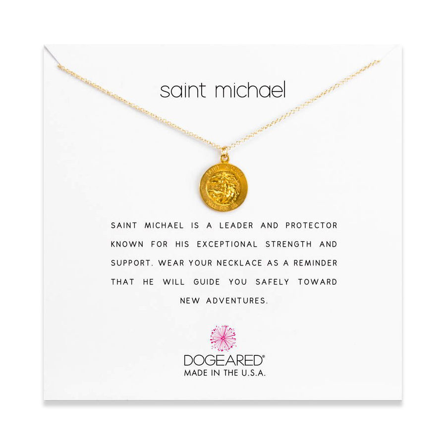 saint michael necklace, gold dipped
