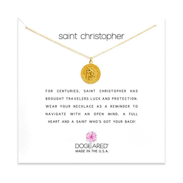 saint christopher necklace, gold dipped
