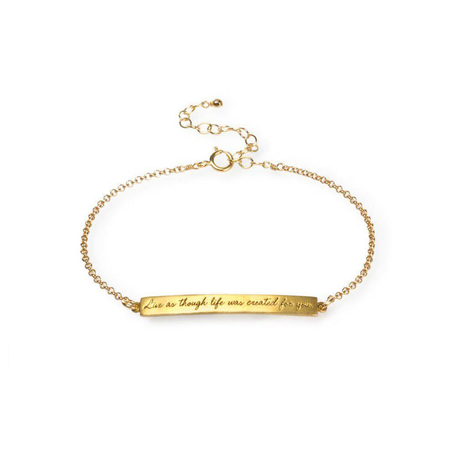 maya angelou live as though life ID bracelet, gold dipped