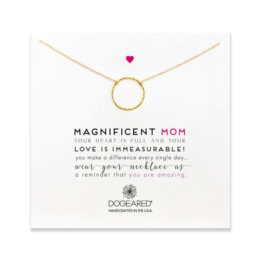 magnificent mom, little sparkle karma necklace, gold dippped