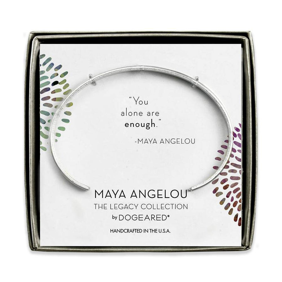 maya angelou you alone are enough thin engraved cuff