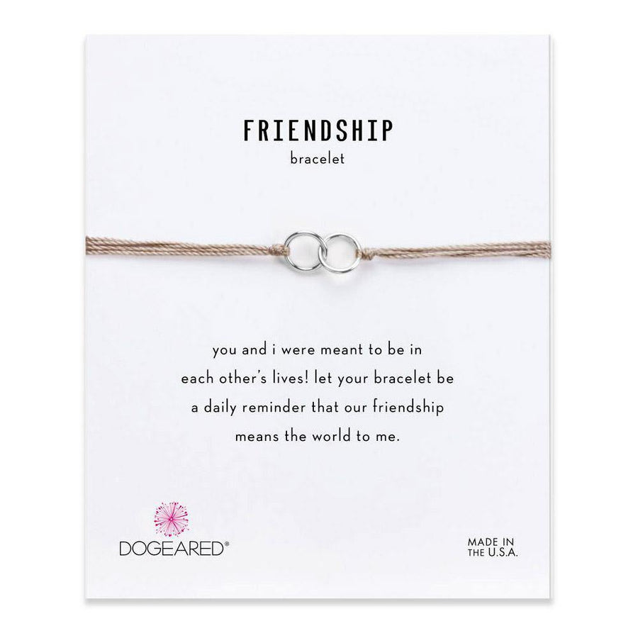 double-linked rings friendship taupe silk bracelet